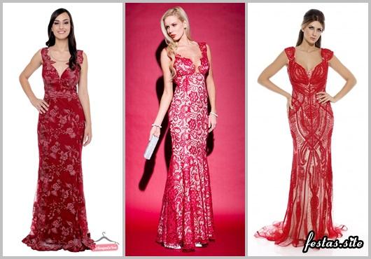 Vestido de Formatura Vermelho com renda modelos