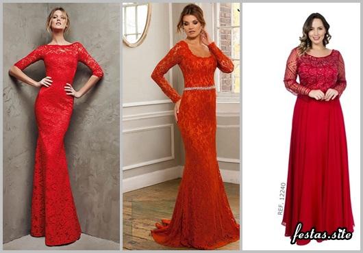 Vestido de Formatura Vermelho com mangas modelos