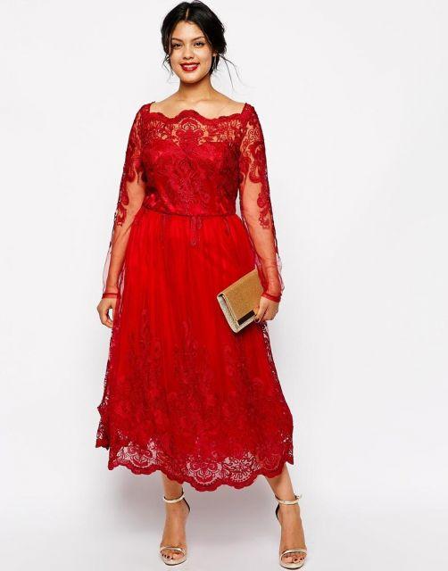 Vestido de Formatura Vermelho curto  com renda e mandas longas