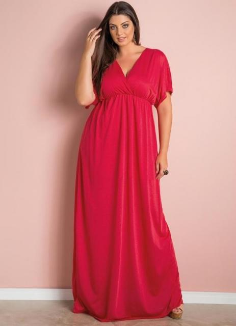 Vestido de Formatura Vermelho com plus size longo com manga