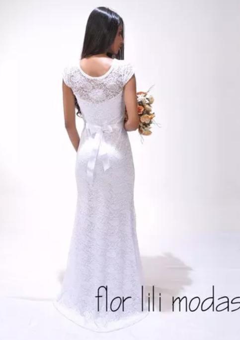vestido de noiva simples e barato longo
