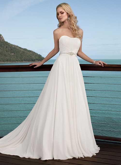 Vestido de Noiva Tomara que Caia com brilho na cintura