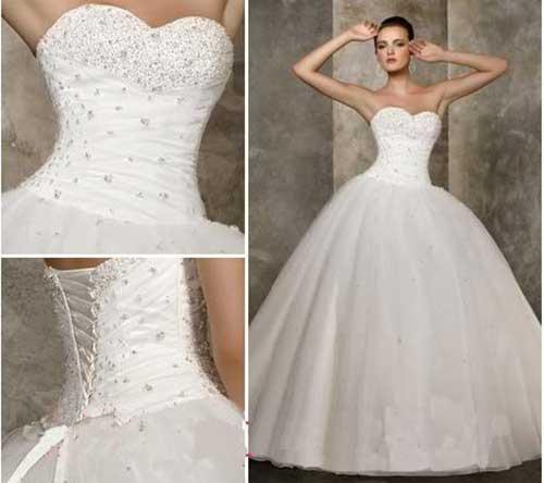 Vestido de Noiva Tomara que Caia com aplique de strass