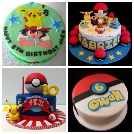 Montagem com quatro bolos Pokémon.