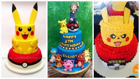 Montagem com três fotos de bolo Pokémon.