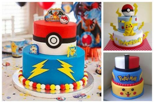 Montagem com três bolos Pokémon com dois ou mais andares.