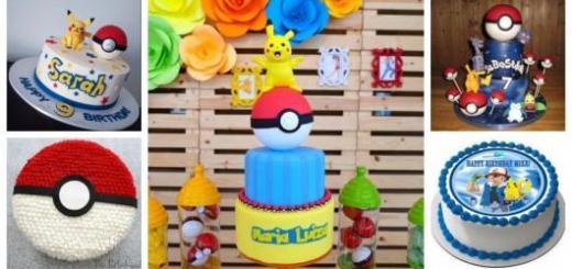Montagem com cinco fotos de bolo Pokémon.