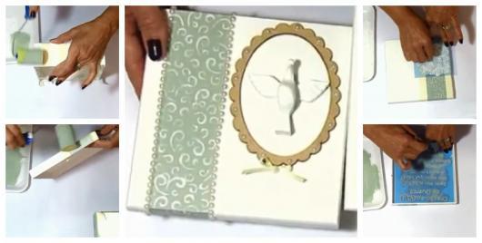Montagem ensinando a fazer caixas para padrinhos de batismo com stencil.