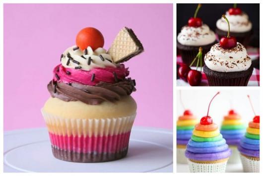 Cupcakes com cerejas no topo.