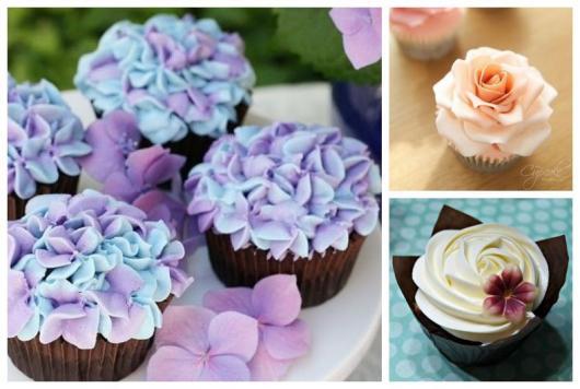 Cupcakes de flores.