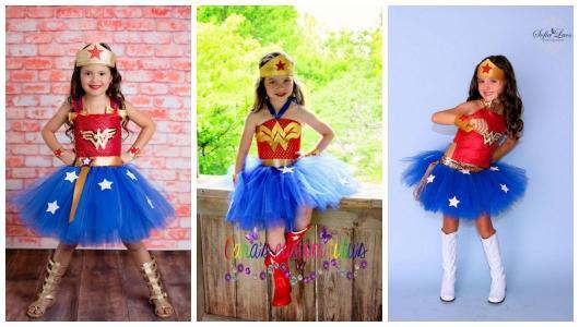 Montagem com três imagens de crianças com fantasia Mulher Maravilha.