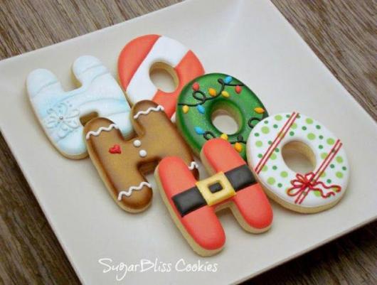 Biscoitos Decorados de Natal no formato de hohoho