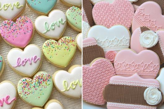 Biscoitos Decorados românticos no formato de corações coloridos com a palavra love
