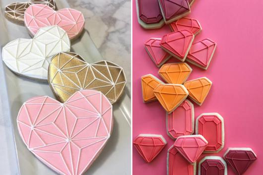 Biscoitos Decorados românticos no formato de coração dourado