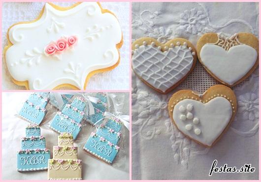 Biscoitos Decorados para casamento no formato de coração com renda