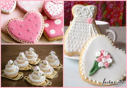 Biscoitos Decorados para casamento no formato de coração rosa