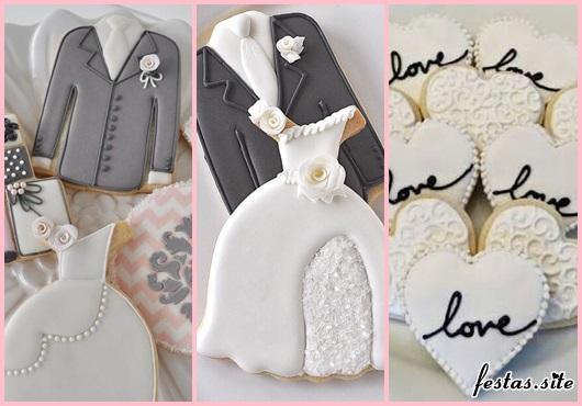 Biscoitos Decorados para casamento no formato de roupa dos noivos