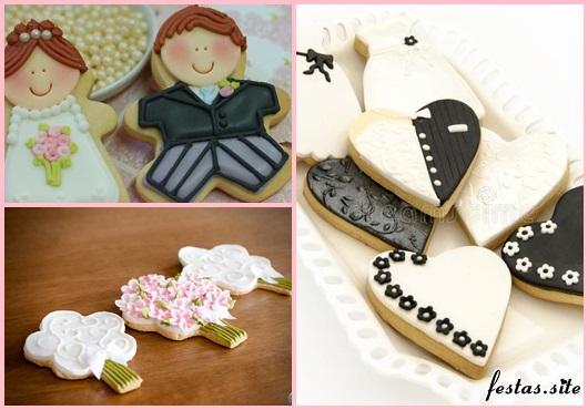 Biscoitos Decorados para casamento no formato de noivinhos