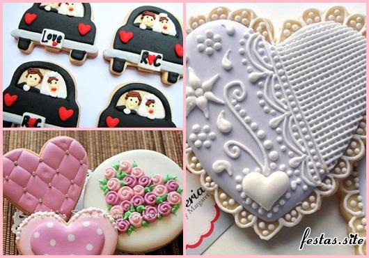 Biscoitos Decorados para casamento no formato de coração cinza com arabesco