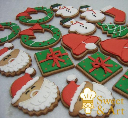 Biscoitos Decorados de Natal no formato de Papai Noel