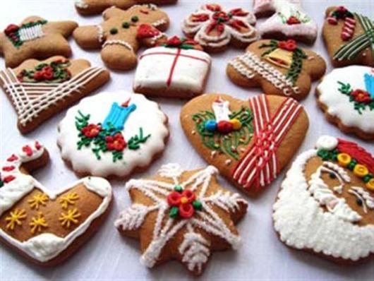 Biscoitos Decorados de Natal no formato de guirlanda