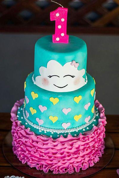 Bolo Chuva de Amor decorado com azul tiffany e rosa