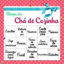 bingo para brincadeiras para chá de casa nova