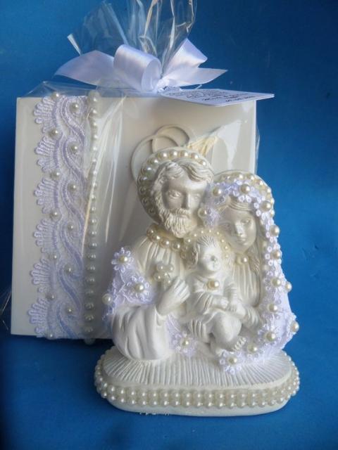Caixa com imagem da Sagrada Família.