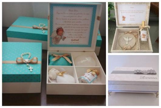 Montagem com três fotos de caixas para padrinhos de batismo personalizada.