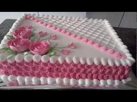 Como Fazer Bolo de Aniversário decorado com  chantilly e rosas feitas com bico de confeitar