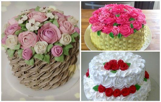 Como Fazer Bolo de Aniversário decorado com flores e chantilly imitando cesta