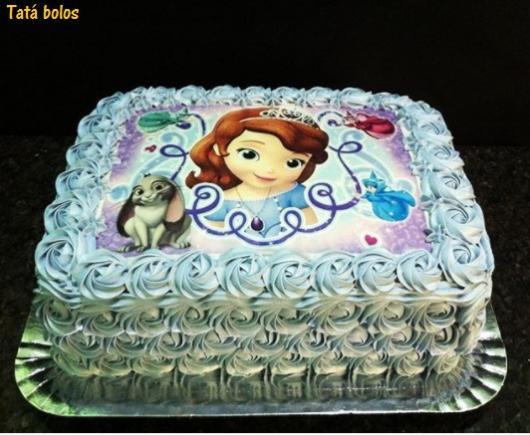 Como Fazer Bolo de Aniversário decorado com papel de arroz princesa Sofia e chantilly