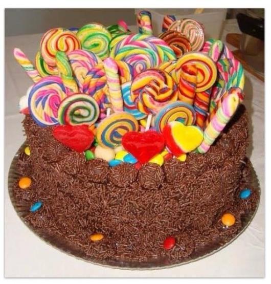 Como Fazer Bolo de Aniversário decorado com chocolate e pirulitos