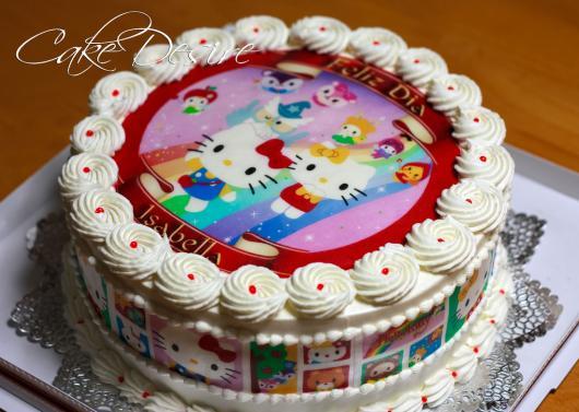 Como Fazer Bolo de Aniversário decorado com papel de arroz Hello Kit