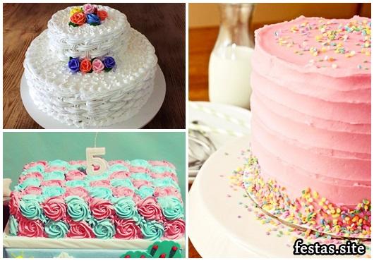 Como Fazer Bolo de Aniversário decorado com chantilly rosa e branco
