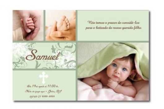 Convite de Batizado com foto e fundo verde