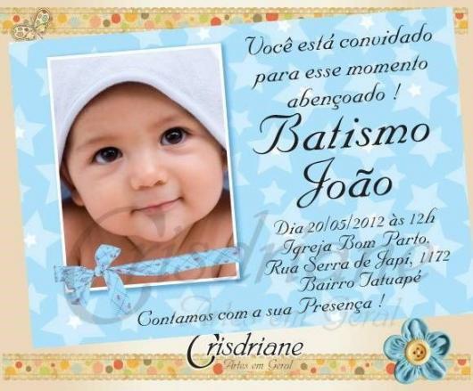 Convite de Batizado com foto e fundo azul