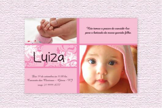 Convite de Batizado com foto e fundo rosa com frase