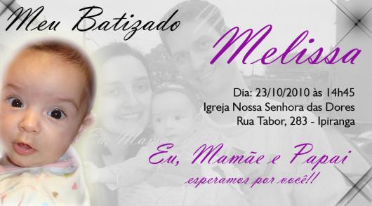 Convite de Batizado com foto e fundo com foto de bebê com os pais