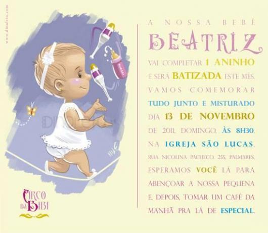 Convite de Batizado e aniversário juntos com desenho do bebê