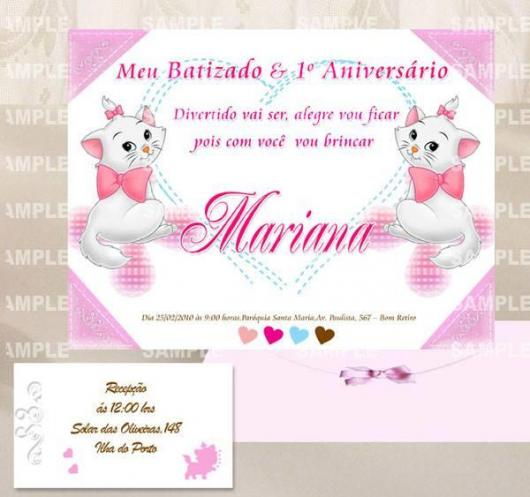 Convite de Batizado e aniversário juntos com estampa da gatinha Marie