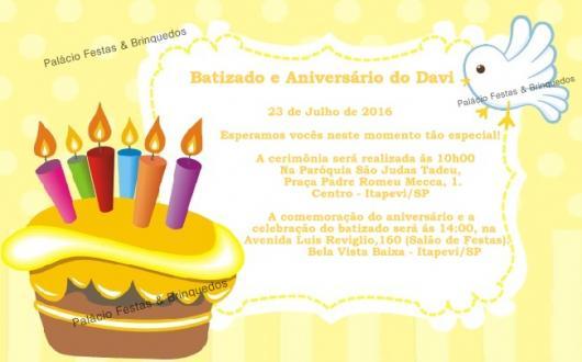 Convite de Batizado e aniversário juntos com fundo amarelo e desenho de pombinha