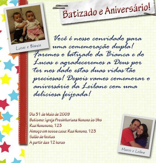 Convite de Batizado e aniversário juntos com foto
