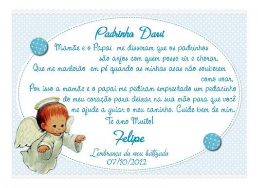 Convite de Batizado para padrinhos com anjinho e fundo azul com bolinhas brancas