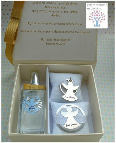 Convite de Batizado para padrinhos caixinha com perfume e chaveirinho de anjo