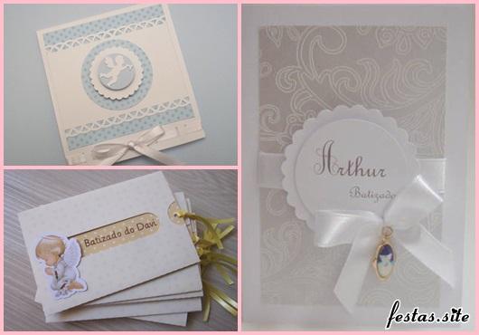 Convite de Batizado branco e azul com lacinho de fita de cetim