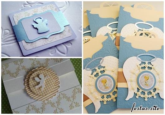 Convite de Batizado scrap azul e branco com asinhas de anjo