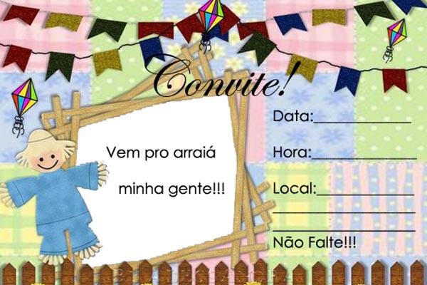 Convite Festa Junina com fundo azul, rosa e verde