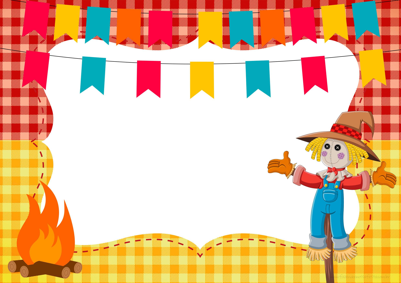 Convite Festa Junina com fogueira e espantalho