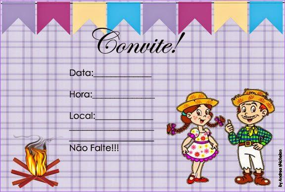 Convite Festa Junina lilás com menino e menina caipira